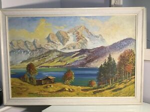 Large Vintage Oil Painting Mountains River Scene Signed Wilhelm Nagel