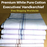 White Mens Business Handkerchiefs100% Pure Cotton Hankies Large 45x45 CM Hanky