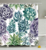 "Green Blue Flower Art Fabric SHOWER CURTAIN 70"" w/Hooks White Floral"