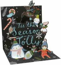 Treasures Pop Up Christmas Card Penguin Tis the season 3D envelope New 5.5""