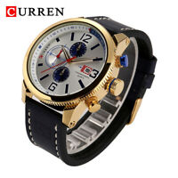 CURREN Men's Calendar Display Watch Leather Strap Analog Quartz Wristwatch Gift