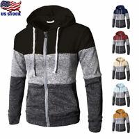 Men's Warm Zip Up Hoodie Classic Winter Hooded Sweatshirt Jacket Coat Outwear US