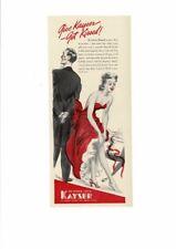 VINTAGE 1939 KAYSER LADIES HOSE STOCKINGS FORMAL DRESS HOLIDAY KISSES AD PRINT