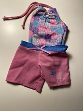American Girl Doll Kanani Beach Outfit Purple Shorts Bathing Suit Swimsuit Blue