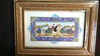 Vintage Small Persian Painting With Ornate Marquetry Frame Horsemen In Game 9x13