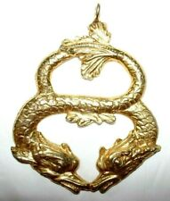 Vintage pendant-Large gold tone metal twisted together twin dragons