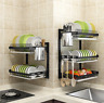 Dish Drainer Drying Rack 3 Tier Stainless Steel Kitchen Cutlery Holder Shelf NEW