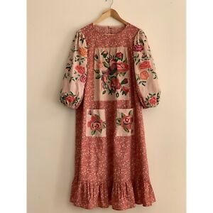 Hand Embroidered DRESS Cotton Loose Boho Prairie Farm Cottagecore Flower  Gypsy