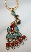 Dainty Blue & Maroon Enameled Filigree Goldtone Peacock Pendant Necklace