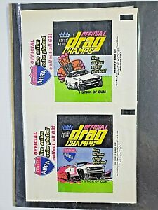 2 EX-MT Official Drag Champs 1972 Fleer Hot Rod AHRA NHRA Trading Card Wrappers
