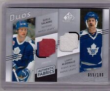 BORJE SALMING LANNY McDONALD 08/09 UD SP Game-Used Dual Authentic Fabrics Jersey
