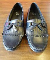 Black Leather JOS. A. BANK Dress Loafers w/Kilties & Tassels 10.5 M