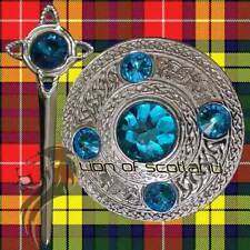 "SL Scozzese Kilt Fly Plaid Celtico Spilla di pietra celeste CROMATO 4"" PIN & SPILLE"