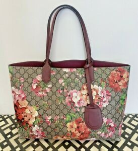 Authentic GUCCI Medium Reversible GG Blooms Tote Supreme Canvas Neverfull