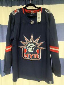 Authentic Adidas New York Rangers Reverse Retro Jersey sz 54  XL NHL NYR Liberty