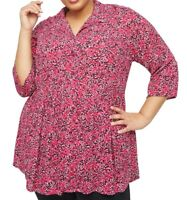 Catherines blouse top plus size 20/22 26 28/30 32/34 36/38 pink printed peplum