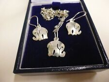 Vintage 925 Sterling Silver Elephant Pendant Necklace and Matching Drop Earrings