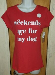 """NWT Wound Up Red & White """"Weekends"""" Graphic Fitted T-Shirt Sz S/M"""