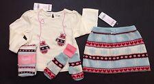 NWT Gymboree Winter Snowflake 18-24 Top Fair Isle Sweater Skirt Mittens & Tights