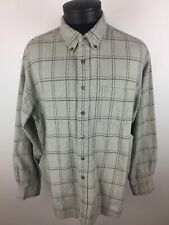 Mens Field Master XL Tan Windowpane Plaid Long Sleeve Shirt XLARGE  Cotton