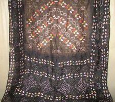 Pure silk Antique Vintage Sari HUCE LOT 4y T18 216 Coffee Black DECOR #ABDEM