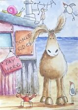 Original Watercolour ACEO Painting by JULIA Seaside, Beach Hut, Mouse, Donkey