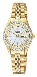 EQ0532-55D,CITIZEN Watch,MADEwithSWAROVSKI®ELEMENT,Mother Of  Pearl Dial,WR,Lady
