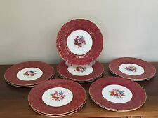(12) Royal Worcester Hand Painted Dinner Plates Ruby & Gold Signed Townsend
