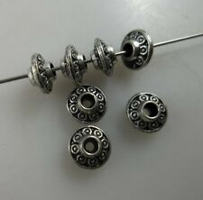 100pcs  Tibetan silver Flying saucer bicone flower  Spacer beads 3.5x6.5mm