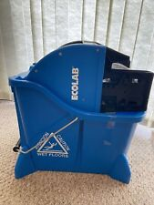 ECOLAB 89990207 Commercial Dual Chamber Blue Mop Bucket with Down Press Wringer