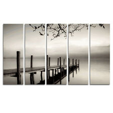 Black White Canvas Print Painting Picture Photo Landscape Bridge Lake Framed 5pc
