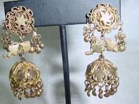 Stunning Gold Plated Bedouin Middle Eastern Dangle Earrings Star Filigree  #1646