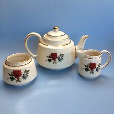 Red Rose Vintage SADLER Teapot Cream & Sugar #3634 Made in England Teaset