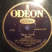 "1923 Classical BERLIN OPERA HOUSE ORCH ""DON JUAN"" Part 1 & 2  78  ODEON 5131 VG+"