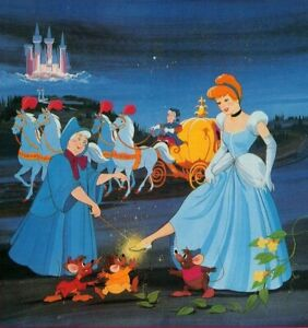 "Vintage Disney Postcard Cinderella & Fairy Godmother Slipper Carriage Mice 4x6"""