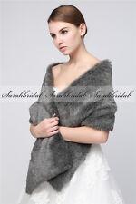 Black/Ivory Women Faux Fur Stole Cape Shrug Bridal Bolero Shawl Coat Wraps Prom