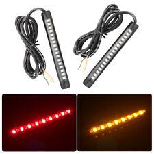 2pcs Car Motorcycle 17LED Strip Light Tail Turn Signal Indicator Red+Amber MA617