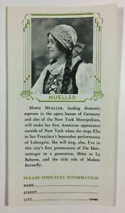 Maria Mueller San Francisco Opera Association Vintage Advertising Brochure 1931
