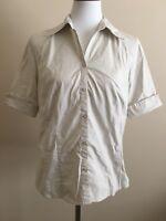 Ann Taylor LOFT Womens Blouse Sz 14 Tan Button Down Dress Shirt Short Sleeve Top