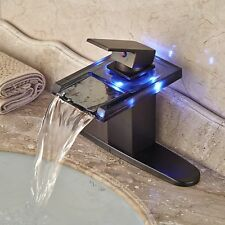 LED Glass Waterfall Spout Oil Rubbed Bronze Bathroom Basin Sink Mixer Tap Plate
