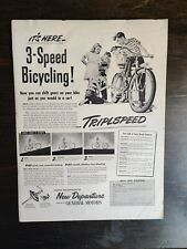 1950 3-Speed Bicycle Triplspeed New Departure GM Full Page Original Ad - OC