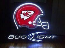 "Bud Light Kansas City Chiefs Helmet Neon Sign 20""x16"" Beer Bar Decor Lamp Glass"