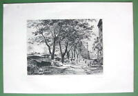 ORIGINAL ETCHING Print - ROUEN Bazar of Saint Marc