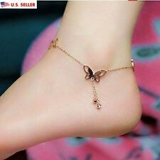 New Fashion Women 18K Rose Gold Anklet Butterfly Ankle Chain Jewelry US Seller