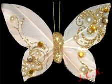 CREAM & GOLD REAL FEATHER BUTTERFLY CLIP WEDDING BIRTHDAY CAKE TOPPER DECORATION