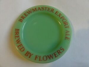 decorative  brewery  ashtray green glass brewmaster export ale by flowers