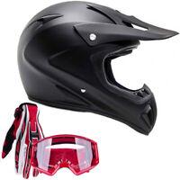 Matte Black Adult Motocross Helmet Combo Red Gloves Goggles DOT
