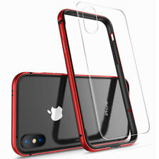 For iPhone X Ten 10 Hybrid Case Aluminum Metal Bumper Clear Glass Back Cover Bag