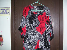 I.N. Studio Woman New 3/4 Sleeved PullOver Filmy Top Size 1X Gathered Hem