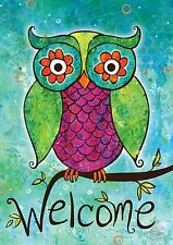 New Toland Garden Flag The Rainbow Owl Welcome Size 12.5 X 18 Great Colors